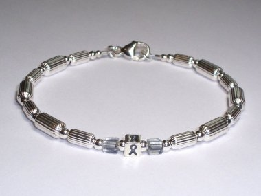 Brain Cancer Awareness Bracelet Uni Sterling Silver Gray Accent Cubes